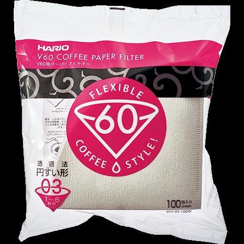 Hario V60 Kaffefilter i vitt papper storlek 03 100st
