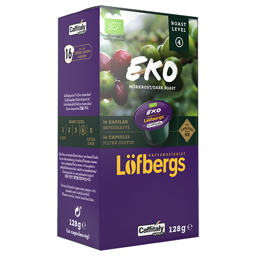 Löfbergs Lila Ekologisk Mörkrost brygg Caffitaly kaffekapslar 16st
