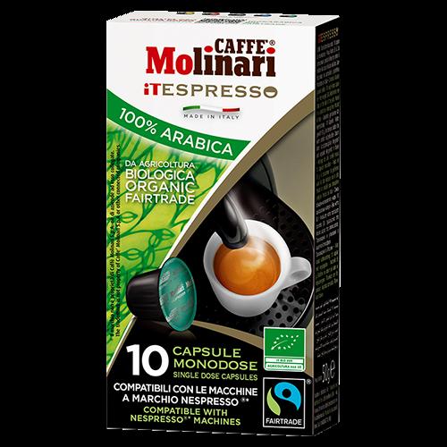 Molinari itespresso Bio 100% Arabica kaffekapslar till Nespresso 10st utgånget datum