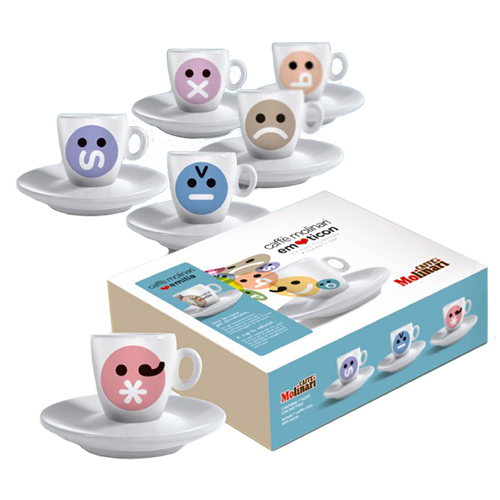 Molinari Emoticons espressokoppar (med fat) 6cl 6st