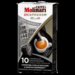 Molinari itespresso 100% arabica kaffekapslar till Nespresso 10st kort datum