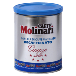 Molinari Cinque Stelle decaffeinato plåtburk malet kaffe 250g